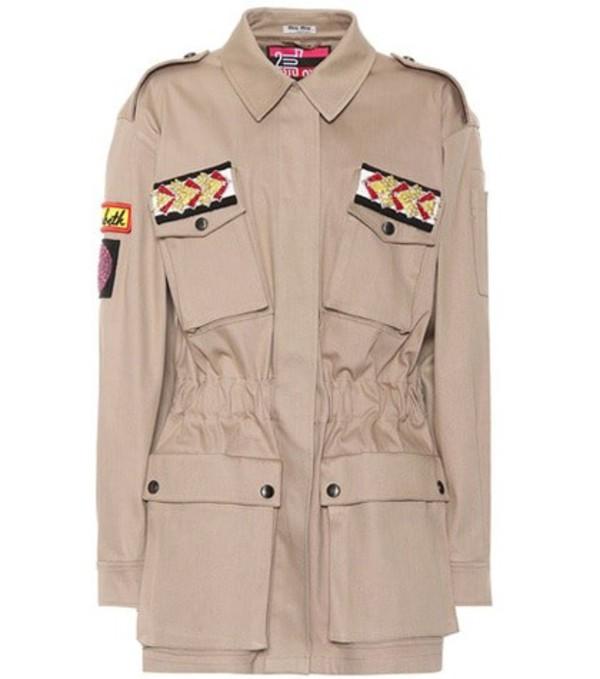 Miu Miu Embellished cotton-blend jacket in beige / beige