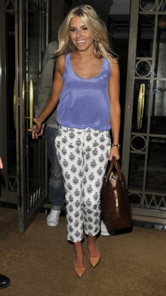 white and lilac pattern pants cigarette pants mollie king the saturdays