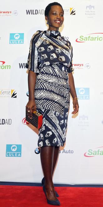 dress midi dress lupita nyong'o pumps clutch african print