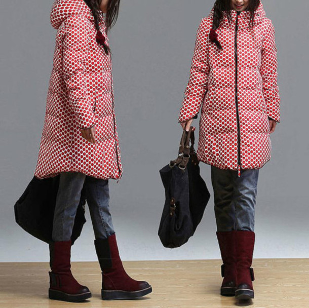 coat hooded jacket red dots