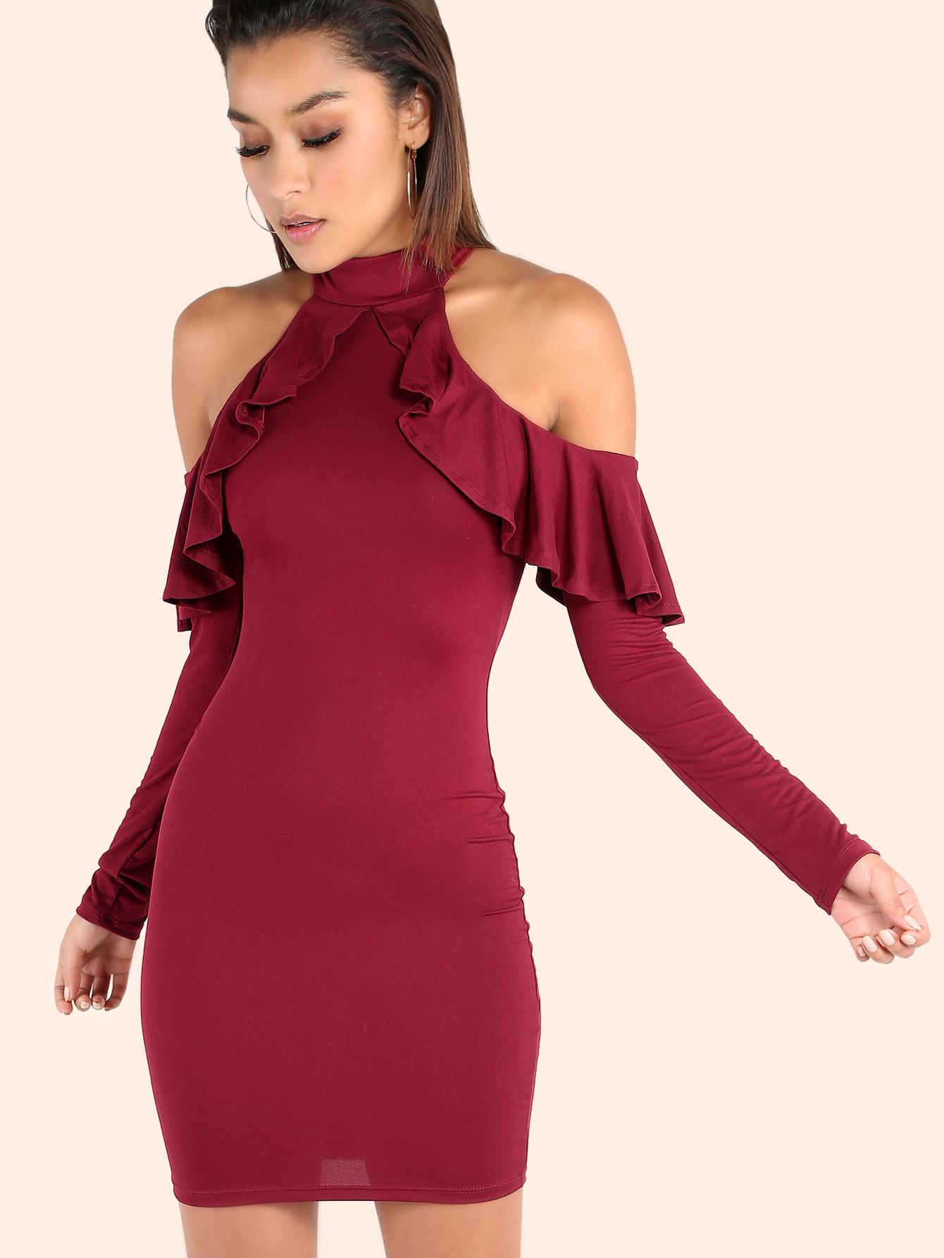 ecc3729b22 Ruffle Cold Shoulder Mock Neck Dress BURGUNDY -SheIn(Sheinside)