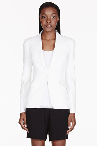 flat women ivory crepe collar classic blazer clothes outerwear jacket