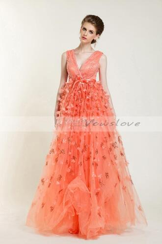 coral dress orange dress prom dress holiday dress vowslove.com ball gown dress appliques