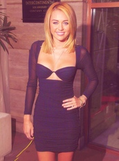 dress,cut-out dress,dark blue,cute,sheer,short,miley cyrus