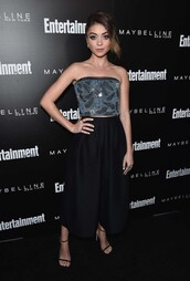 shoes,sandals,sandal heels,bustier,sarah hyland,sag awards,top,crop tops,sequins,midi skirt,skirt