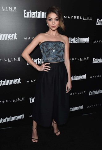 shoes sandals sandal heels bustier sarah hyland sag awards top crop tops sequins midi skirt skirt