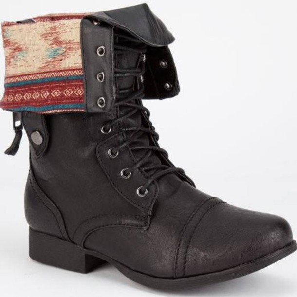 shoes black boots boots combat boots folded combat boots trendy lace up ankle boots lace-up shoes