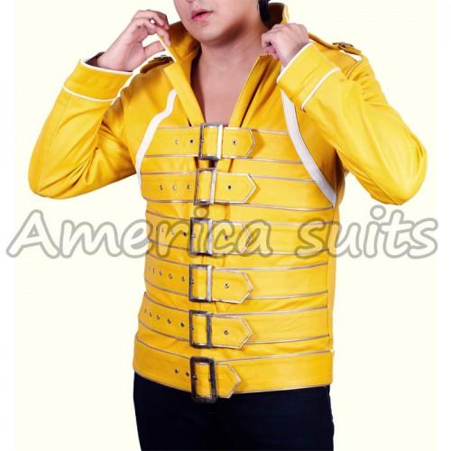 Freddie Mercury Yellow Concert Leather Jacket