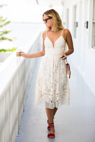 late afternoon blogger dress jewels sunglasses pajamas white dress lace dress maxi dress summer dress pink bag shoulder bag lace up flats eyelet dress