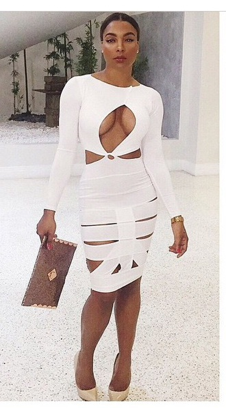 white bandage dress open front