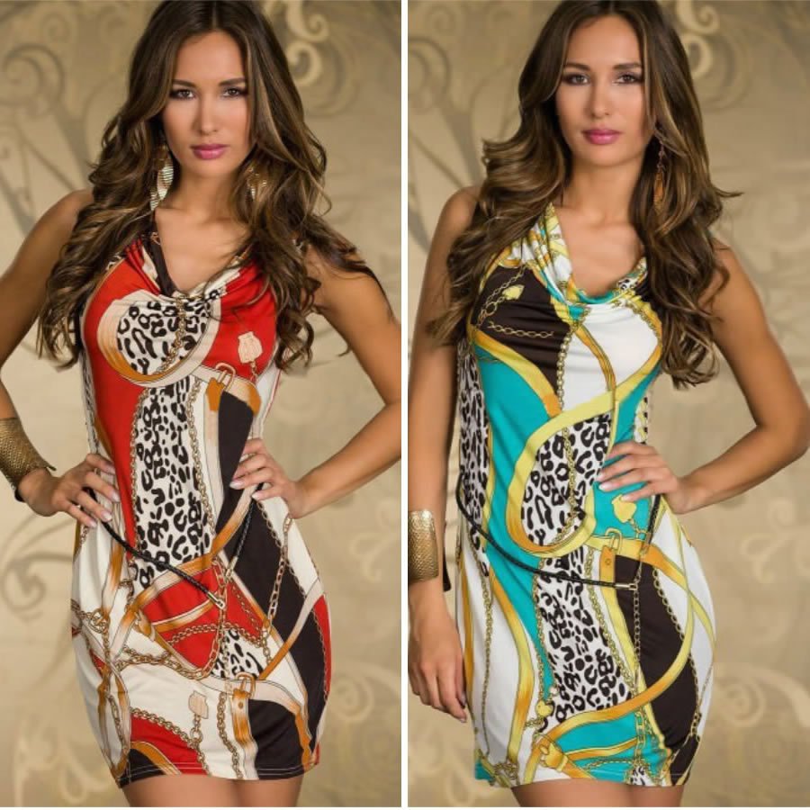 Freeshipping 2013 New Fashion Women Vintage Printed Tank Mini Dress Summer Casual Dress with Belt N1D17 | Amazing Shoes UK