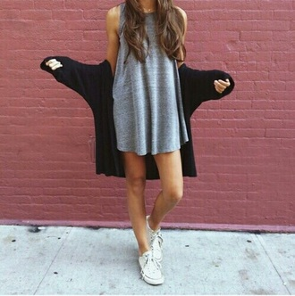 tank top top grey grey top shirt jacket black black jacket sneakers shoes girl young skinny cool