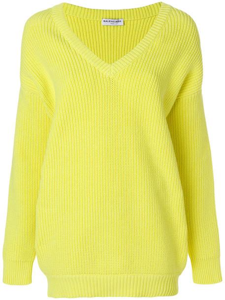 Balenciaga sweater long women cotton yellow orange