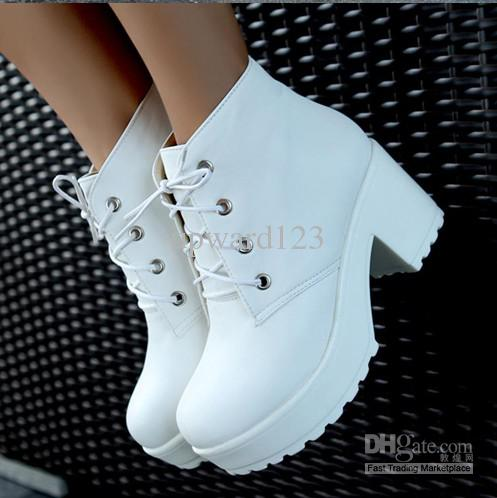Locomotive boots platform shoes short boots women chunky heel ankle boots knight boots white black 5, $20.93