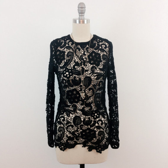 Sonia black crochet lace fitted shirt blouse top