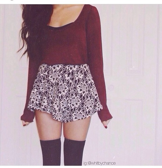 red sweater blouse b&w skirt top color outfit fashion