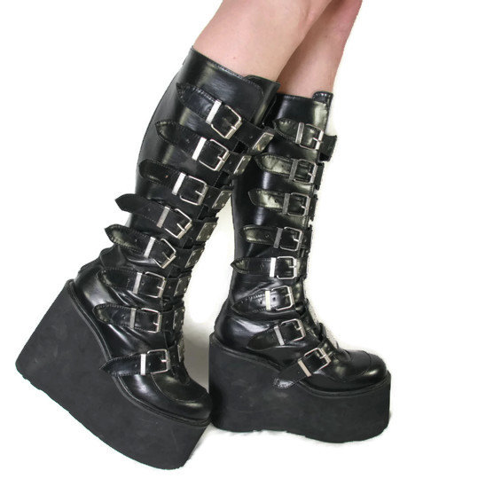 f26f6513d62f Chunky Goth Platform Boots - Vegan Leather - Cyber Goth Boots ...