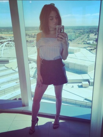 top clothes off the shoulder stripes lucy hale