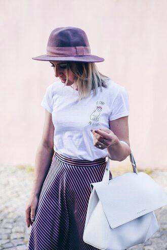 t-shirt graphic tee skirt striped skirt oversized bag hat blogger blogger style
