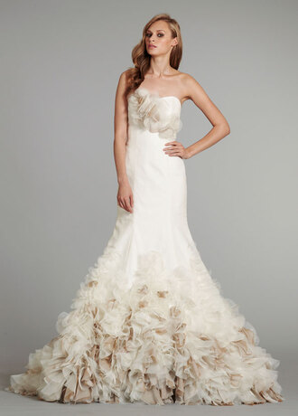dress wedding dress beige mermaid wedding dress flowers