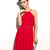 Women's New Red O-Neck Solid Knee-Length Sleeveless Pleated Dress - 22113023S07