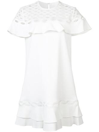 dress ruffle dress ruffle women spandex white