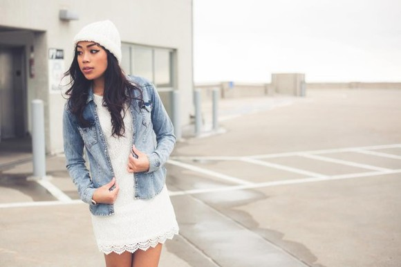 dress lace white white dress white lace crochet dres casual white hat white beanie denim crochet white crochet dress above the knee casual dress clothes jean shirt light washed denim