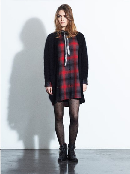 tartan fashion dress lookbook claudie pierlot sweater