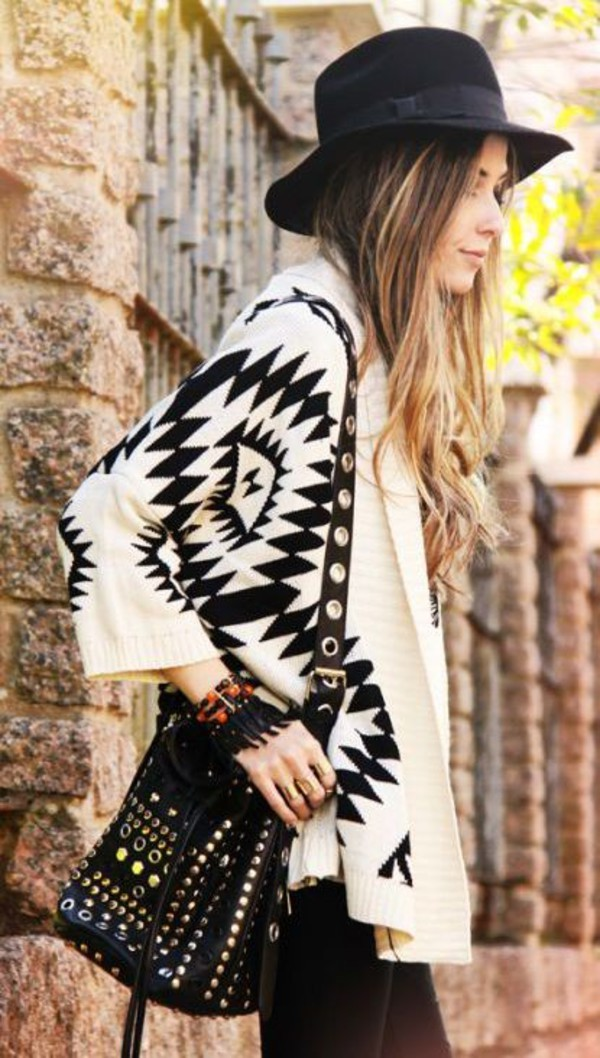 cardigan aztec tribal cardigan boho shoes bag