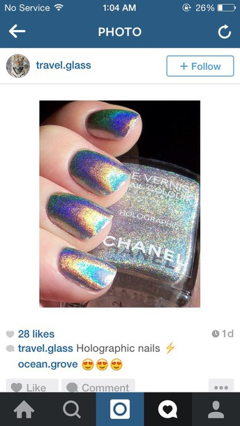 nail polish, holographic, chanel nail polish, holographic nails ...