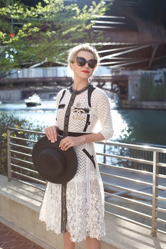 atlantic pacific blogger hat sunglasses white dress long sleeve dress lace dress white lace dress black hat chanel