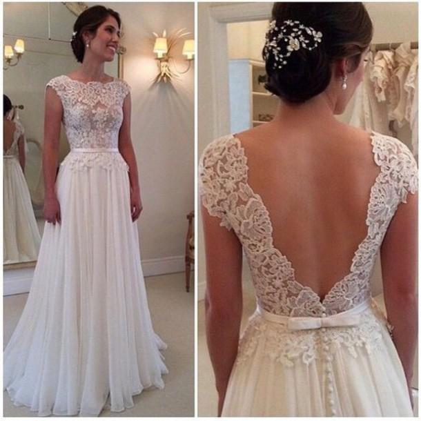 2015 sexy backless wedding dress long chiffon a line lace for Beach chiffon wedding dress