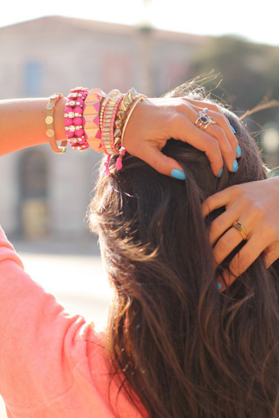 jewels spikes gold pink bracelets