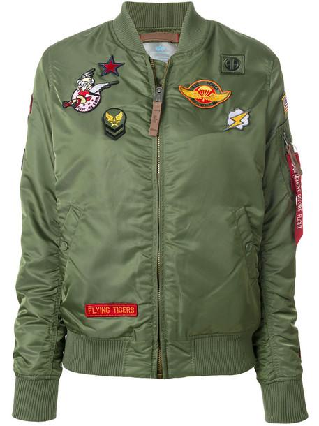 Alpha Industries - patch detail bomber jacket - women - Nylon/Polyester - M, Green, Nylon/Polyester