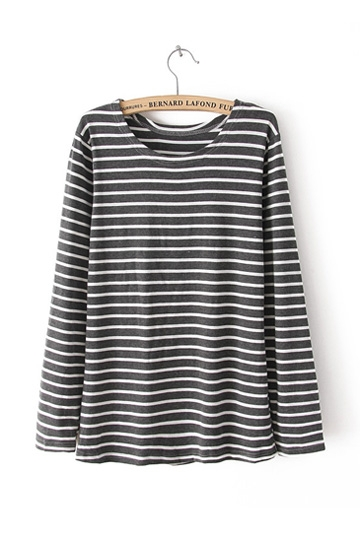 Patch Stripe Long-Sleeved T-shirt [FCBI00353]- US$ 10.99 - PersunMall.com