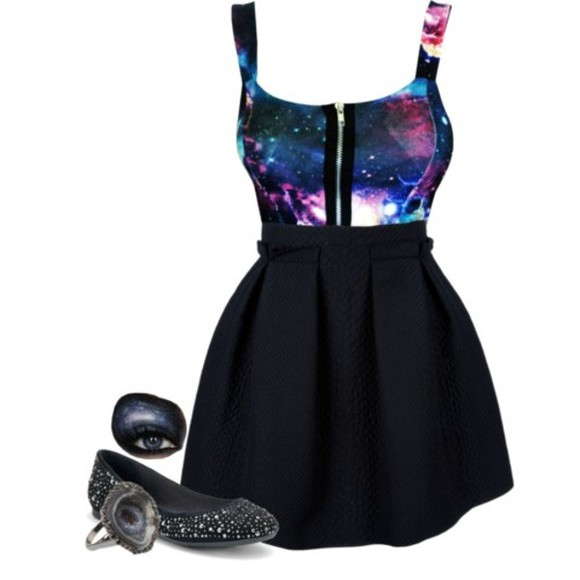 dress black flare bottom galaxy dress zip up blouse