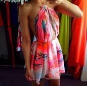 dress,blouse,summer,summer dress,cut-out dress,pink dress,floral,girly,colorful dress,backless,ariana grande,decoupe,pink,flowers,flowerdress,light-pink,rose,print,clothes,tie dye,cut-out,multicolor,orange,short,halter dress,water color,abstract pattern dress,colorful,neckholder,backless dress,jumpsuit,bareback,vibrant,gloves,beautiful,style,love