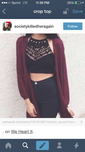 top cut out top cardigan burgundy crop tops lace top