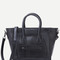 Black embossed pu front zipper tote bag with strap -shein(sheinside)