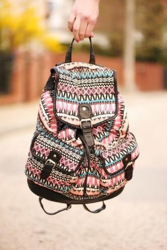 bag backpack aztac patternd tygväska väska monster mönstrad