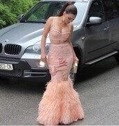 dress,two piece dress set,prom dress,gown,blush pink,feather dress,All pink outfit