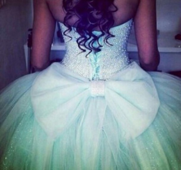 blue dress with bow on back cute dress tiffany blue swarovski bows bow dress ball gown dress prom dress prom green dress with massive bow  light blue sparkle bow on the back quinceanera dress quinceanera gown ball gown dress bag prom quincenera dress poofy gorgeous dress beaded