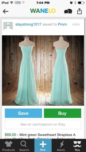 dress blue prom gown strapless