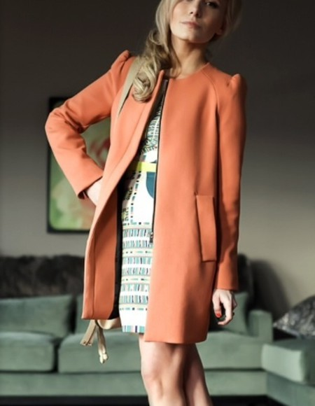 zara blogger summer coat orange pastel pink coat