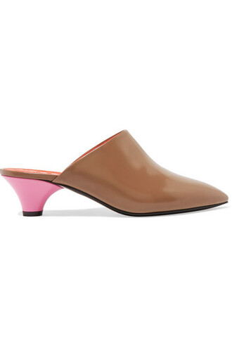 tan mules leather shoes