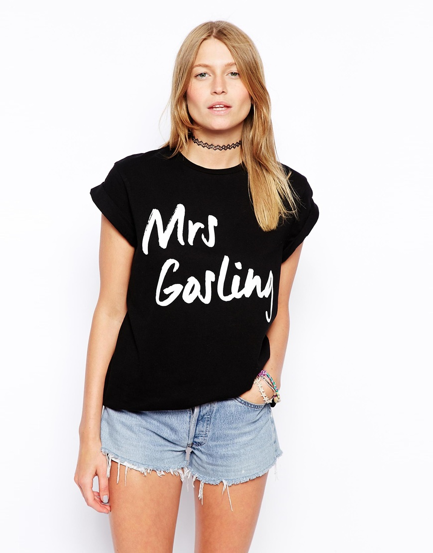 ASOS Boyfriend T-Shirt with Mrs Gosling Print at asos.com