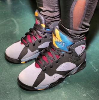 shoes girl nike jordan7s jordans air jordan multicolor