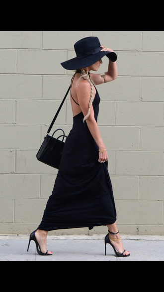 dress black dress maxi dress black heels black hat floppyhat floppy black satchel shoes bag hat