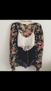 blouse,floral,jacket,jewels,tank top,ebonylace.storenvy,ebonylace-streetfashion,spaghetti strap top,sweater,cardigan,black,shirt,high waisted,crop tops,top,white crop tops,summer top,t-shirt,women tshirts,women t shirts,white tank top,white,black blouse,flowers,summer,summer outfits,stomach free,stomach,stomache,girly,gold,gold jewelry,gold necklace,necklace,big necklace,shorts,High waisted shorts,high waisted denim shorts,denim shorts,hot pants,denim hotpant,denim hotpants,hotpans,coat,swimwear,tumblr,floral kimono,black and floral,short,flowered,lace tank top,outfit,floral cardigan,lace,kimono,cropped tank,beach,spring,cute outfits