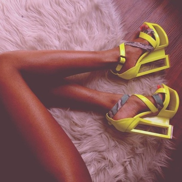 shoes neon sexy yellow